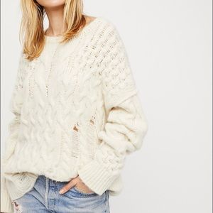 Free People Destroyed Cable Pullover